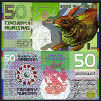 Banco De Kamberra 50 Numismas 2011 Year of the Rabbit Polymer UNC