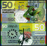 Banco De Kamberra 50 Numismas 2013 Year of the Snake Polymer UNC