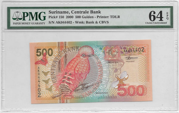 Suriname 500 Gulden 2000 PMG 64 EPQ Choice UNC