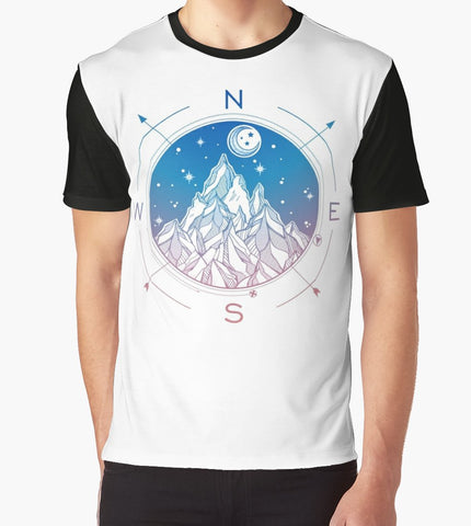 Wanderlust Tattoo of Hand Drawn Mountain Wind Compass T-Shirt