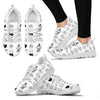 White & Black Cats Women's Sneakers