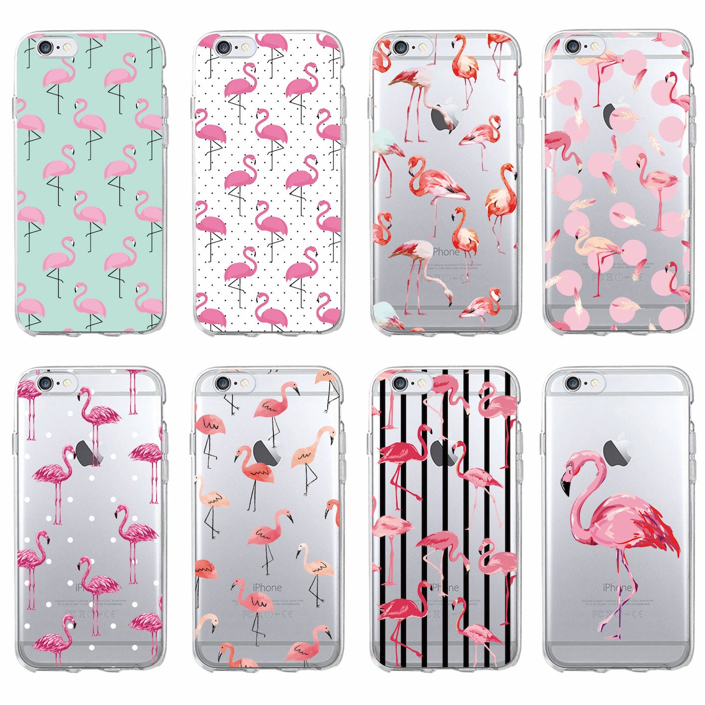 new style 82832 a59ae Flamingo Tropical Clear Phone Case For iPhone Samsung
