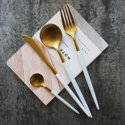 4 Piece White & Gold Flatware - Gifts Buddies Reviews