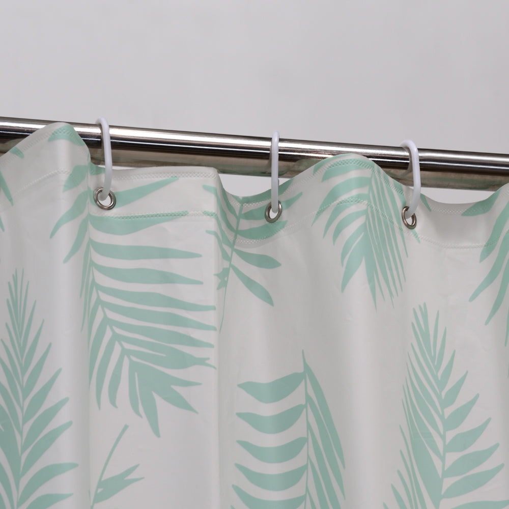 Red Flamingo With Green Leaves Shower Curtain