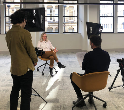 Behind the seen image of Lee interviewing for Tile Creative
