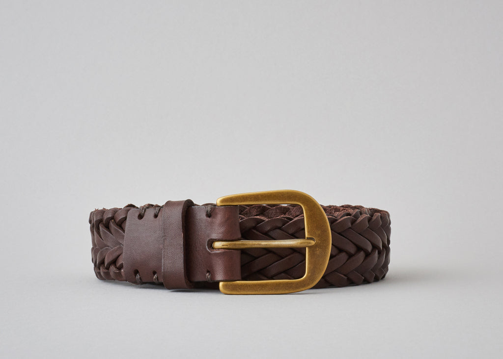 Braided Belt - Walnut Brown / Brass