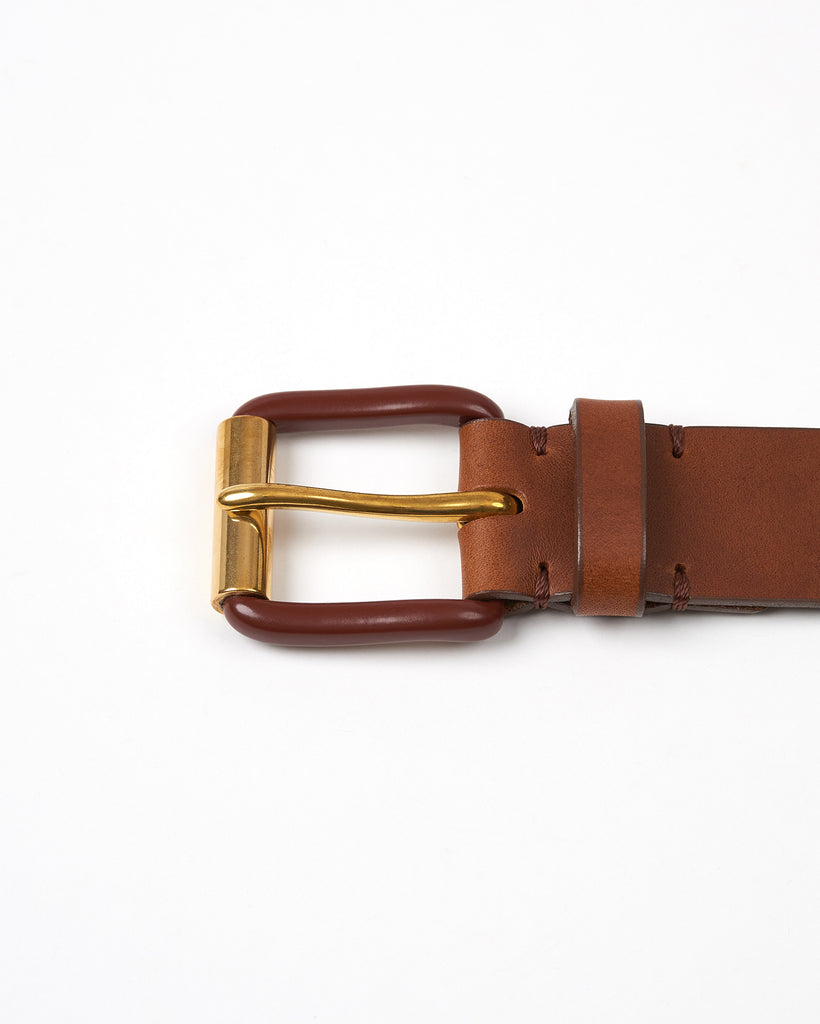 Modernist Exposed Belt - Saddle Brown / Brass