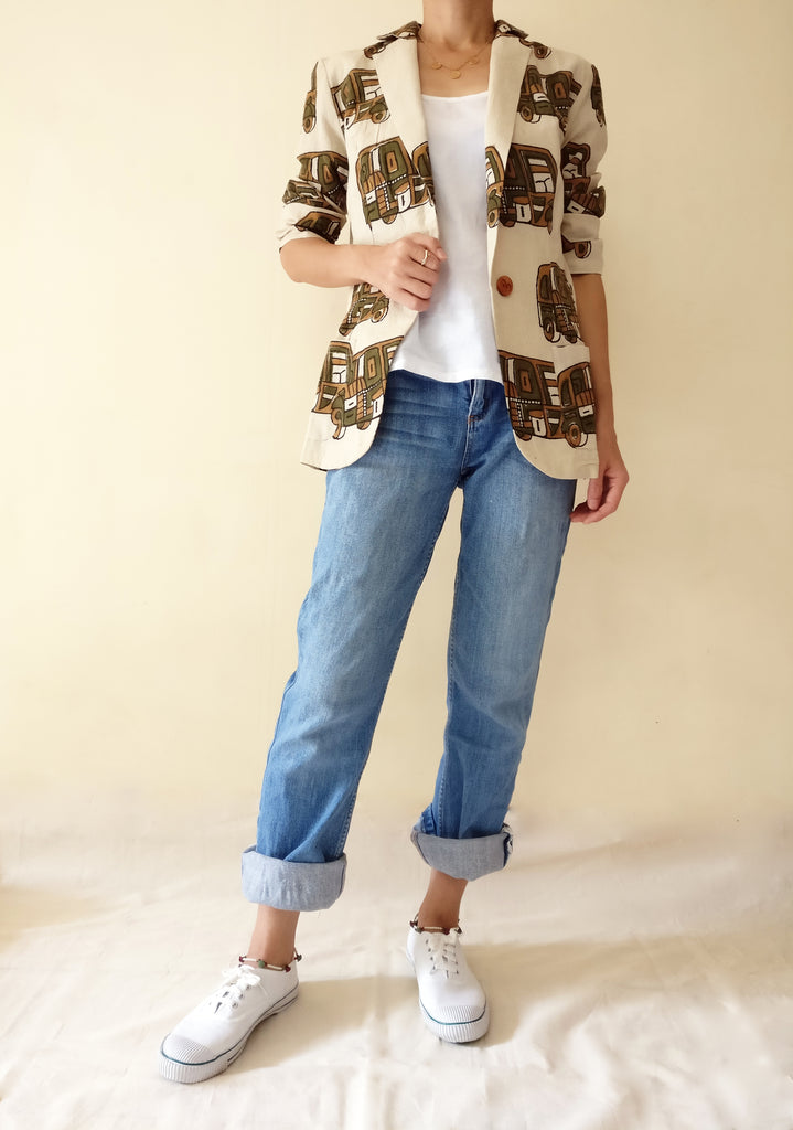 1. Basic styling: MIRCHI KOMACHI Rickshaw Cotton Blazer Jacket (Brown) with a white tanktop with jeans