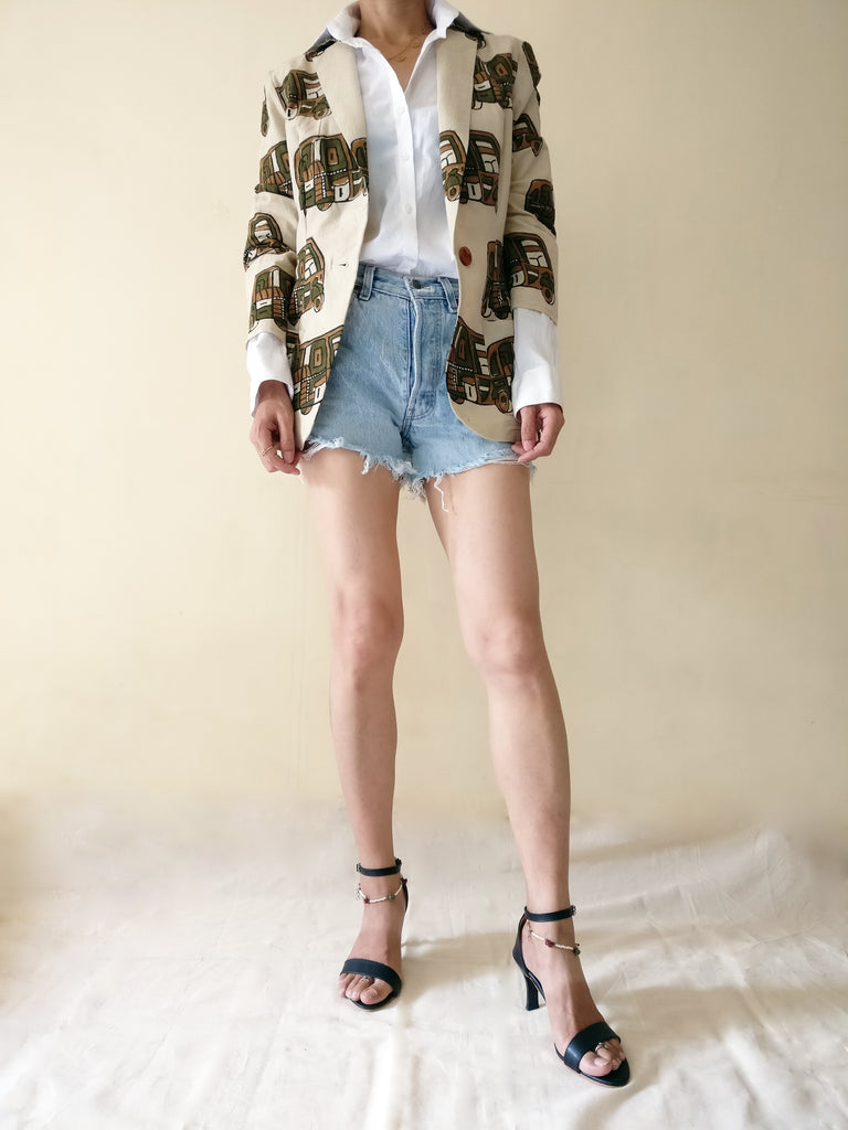 MIRCHI KOMACHI Rickshaw Print Cotton Casual Blazer Jacket with a white shirt and a torn short denim jeans plus high-heel sandal
