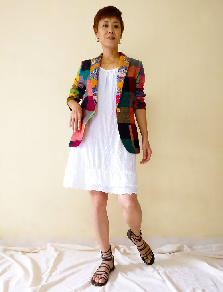 image of MIRCHI KOMACHI blazer jacket cotton colourful plaid with kalamkari collar for ladies