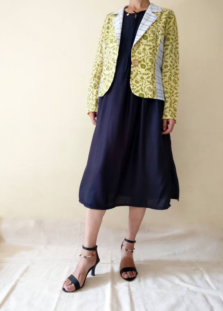 MIRCHI KOMACHI Lungi Cotton Catual Blazer Jacket for women with a black long one-piece dress