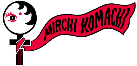 MIRCHI KOMACHI proper logo in a saree and the super shero cloak