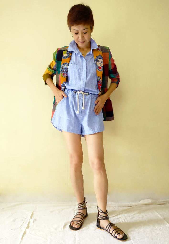 image of MIRCHI KOMACHI cotton blazer jacket with colourful plaid and kalamkari for women plus short jump suit