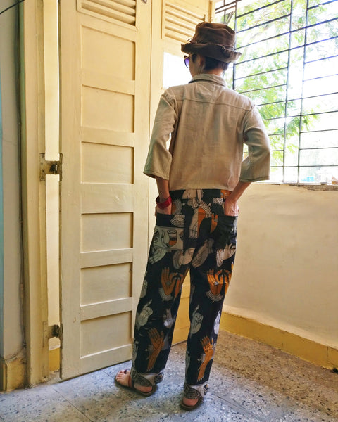 image of the completed upcycled jumpsuit (backside)