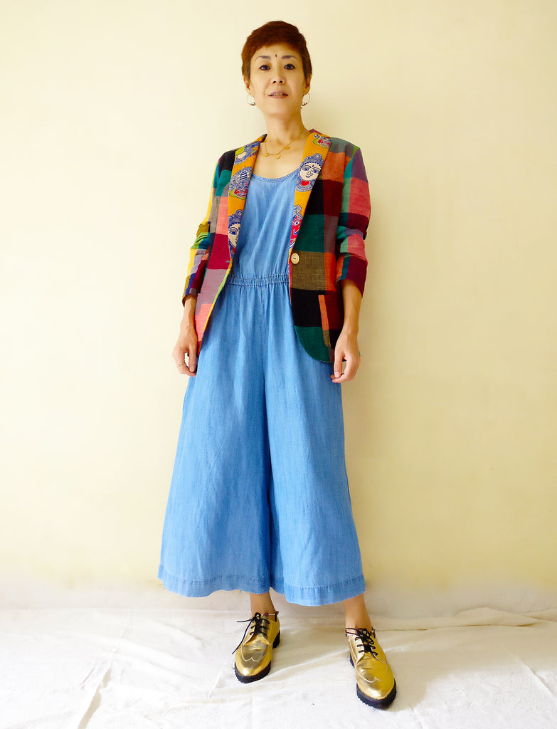 image of MIRCHI KOMACHI Cotton casual blazer jacket for women with colourful plaid and kalamkari plus long jump suit