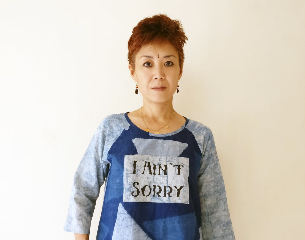 image of Yoshiko Inoue wearing MIRCHI KOMACHI cotton message kurti I ain't sorry