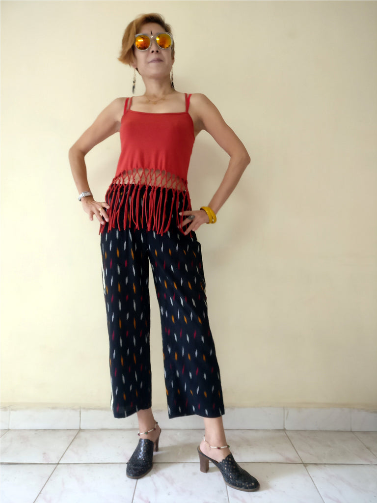 "1st image for a blog ""7 Ways How to Style Track Pants - Let's Create India's Answer"", Ikat track pants with a camisole"