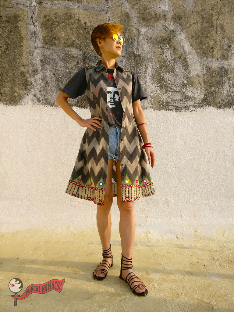 "For the 1st blog post of MIRCHI KOMACHI BLOG ""FEMALE PIRATES SING"" of Shirt Dress Silk Chanderi Grey with print tshirt and short denim jeans"
