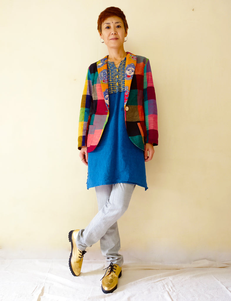 image of MIRCHI KOMACHI cotton casual blazer jacket for women with colourful plaid and kalamkari plus kurta