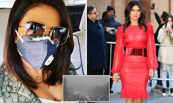 Priyanka Chopra wearing a mask to protect from air pollution