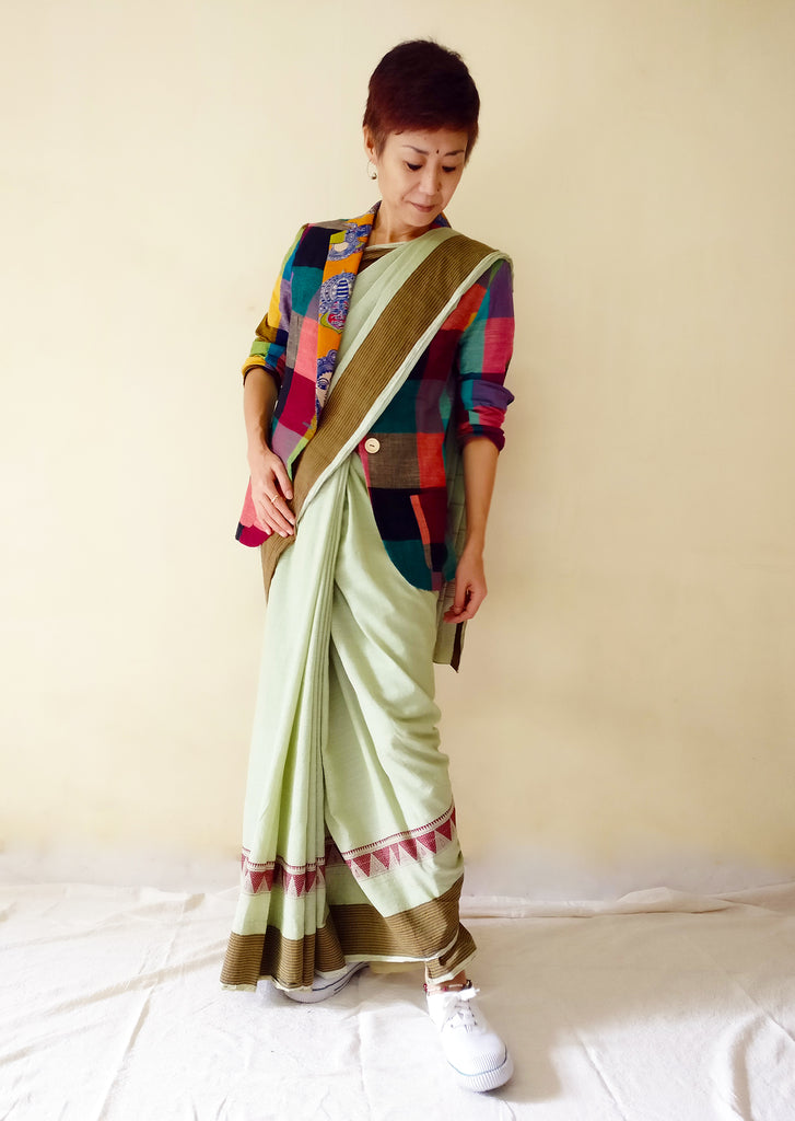 image of MIRCHI KOMACHI cotton casual blazer jacket with colourful plaid and kalamkari for ladies plus saree