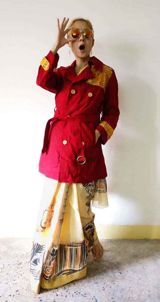 Festival outfit with a Bengali hand-painted cotton saree with MIRCHI KOMACHI cotton red trench coat