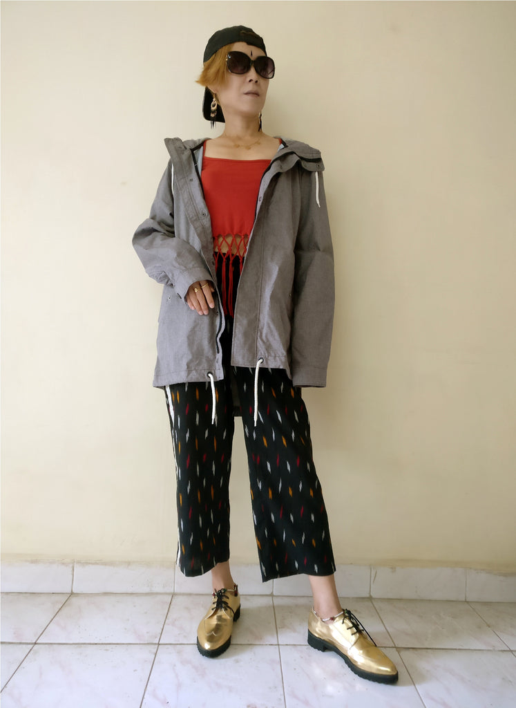 "2nd image for a blog ""7 Ways How to Style Track Pants - Let's Create India's Answer"", Ikat track pants with an oversized coat"
