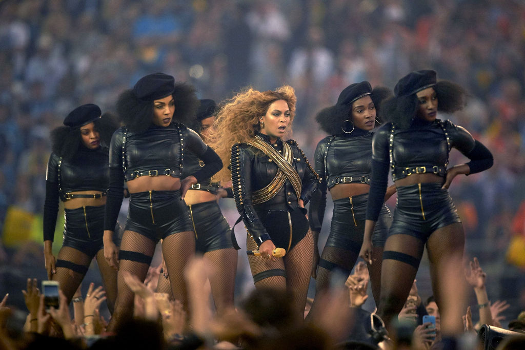 Beyoncé performing in the Super Bowl halftime show in 2016