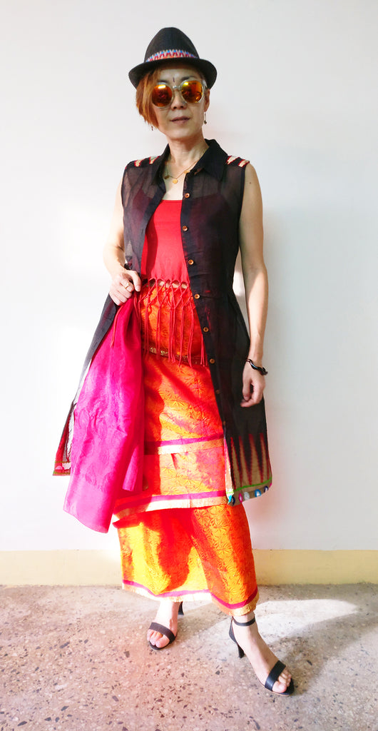 Festival outfit with an orange and red silk saree + MIRCHI KOMACHI Silk Chanderi Shirt Dress (black)