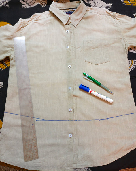 image of the shirt for upcycling with a line to be cut