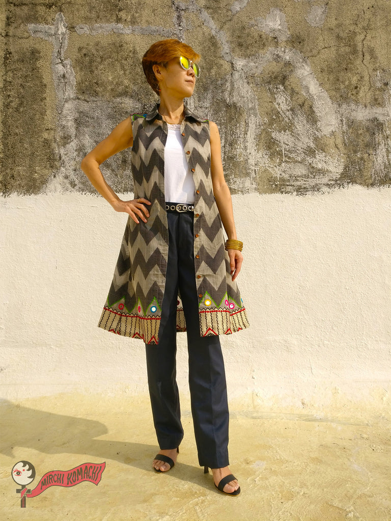 "For the 1st blog post of MIRCHI KOMACHI BLOG ""FEMALE PIRATES SING"" of Shirt Dress Silk Chanderi Grey with white camisole and men's trousers"