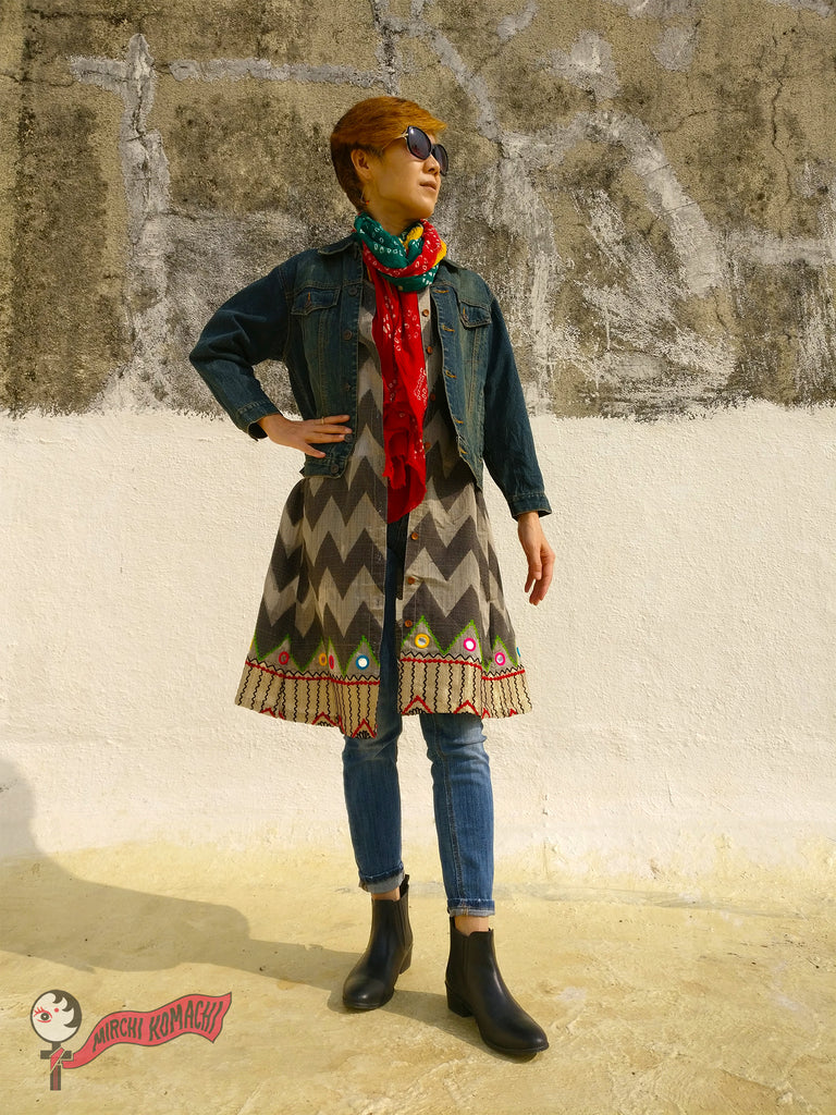 "For the 1st blog post of MIRCHI KOMACHI BLOG ""FEMALE PIRATES SING"" of Shirt Dress Silk Chanderi Grey with denim jacket, scarf, and skinny jeans"