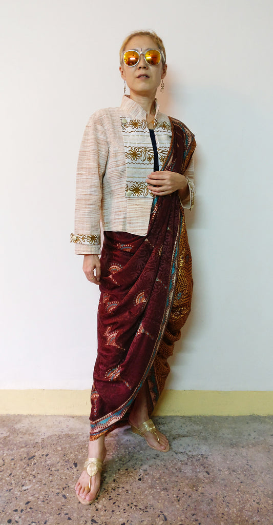 Festival outfit with a saree and MIRCHI KOMACHI Khadi military jacket (front)