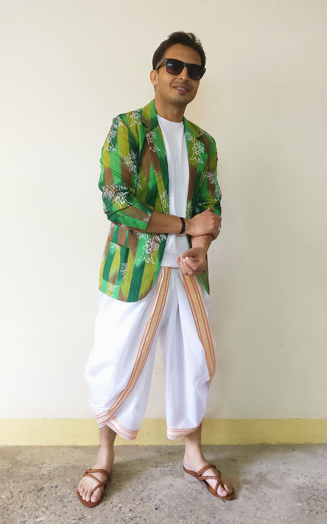 Saurabh Sharma in Men's Blazer Jacket - Chipko Didi On Ikat (Green) and a white dhoti