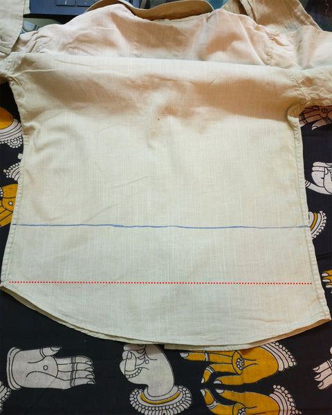 image of the old shirt for upcycling from the back side
