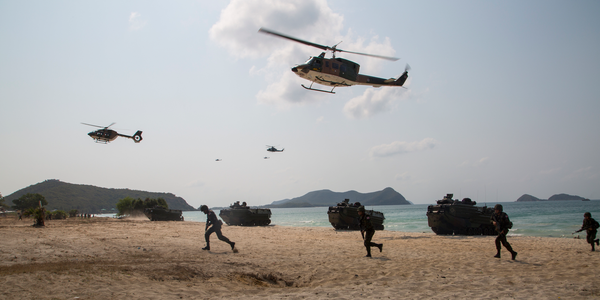 army at a beach