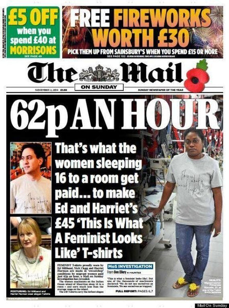 newspaper article about statement Tshirt made at sweatshops