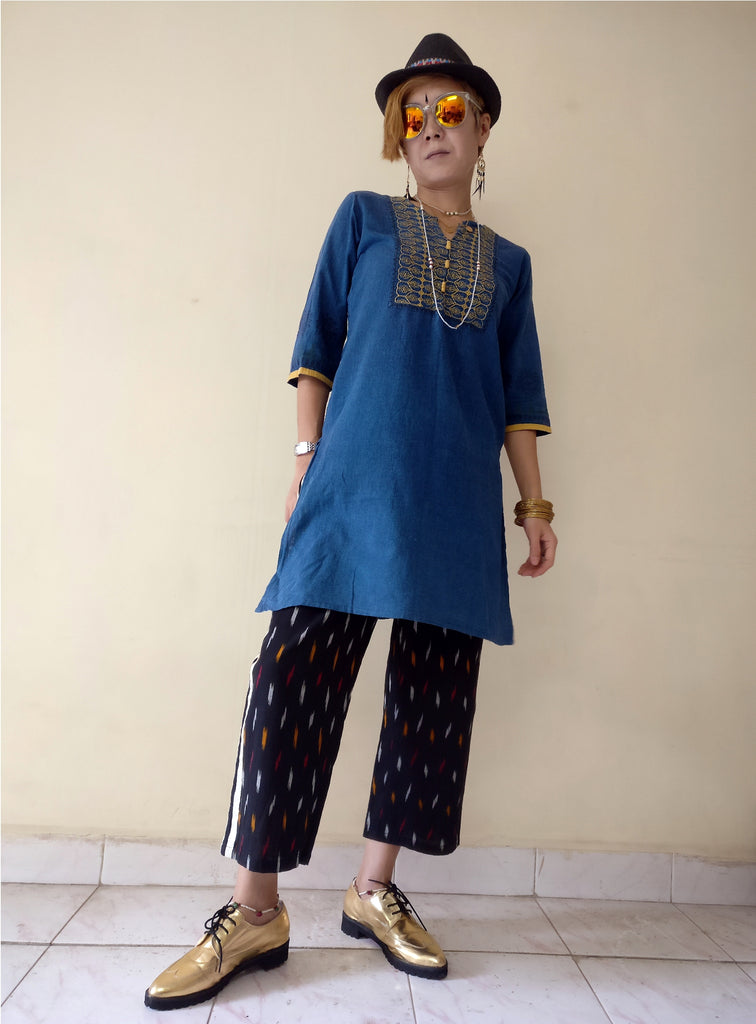 "6th image for a blog ""7 Ways How to Style Track Pants - Let's Create India's Answer"", Ikat track pants with a kurta"