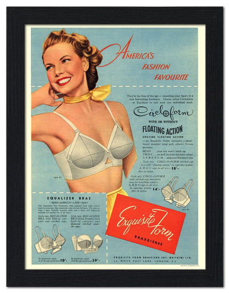 old advertisement of a bra