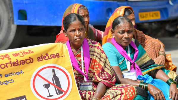 The women in the march for alcohol ban in Karnataka