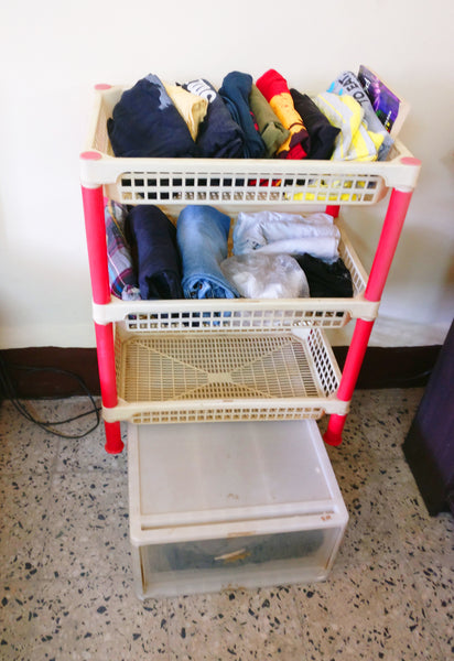 Three tiered rack after tidying up with Konmari Method
