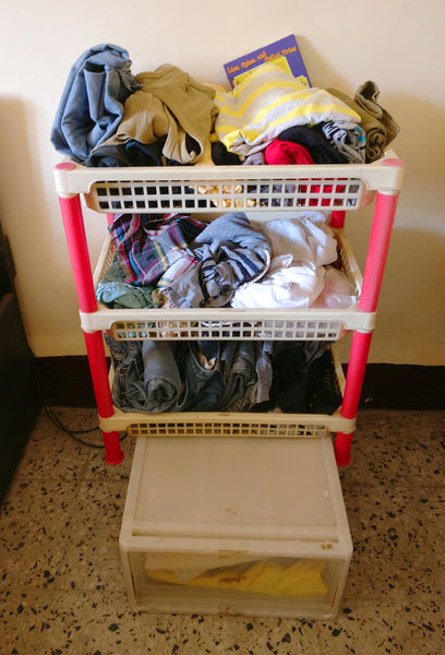 three tiered rack and the drawer before Konmari Method