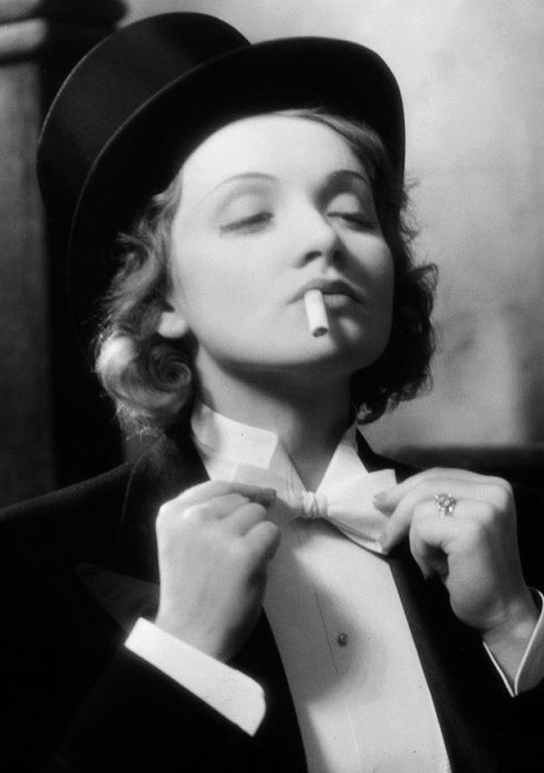 Image of Marlene Dietrich in men's suit