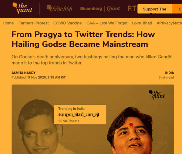 article about the worshipper of Godse