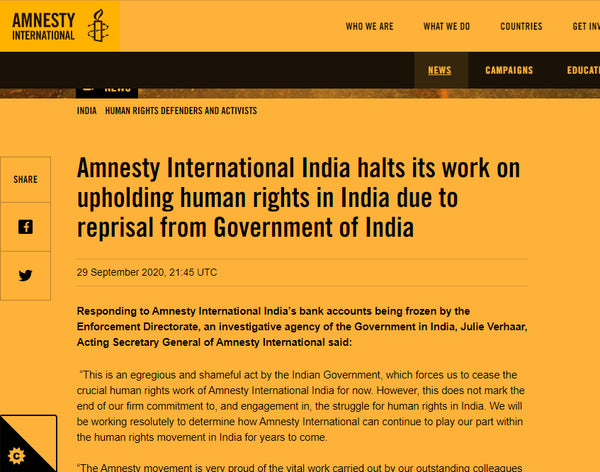 amnesty india's ban in India