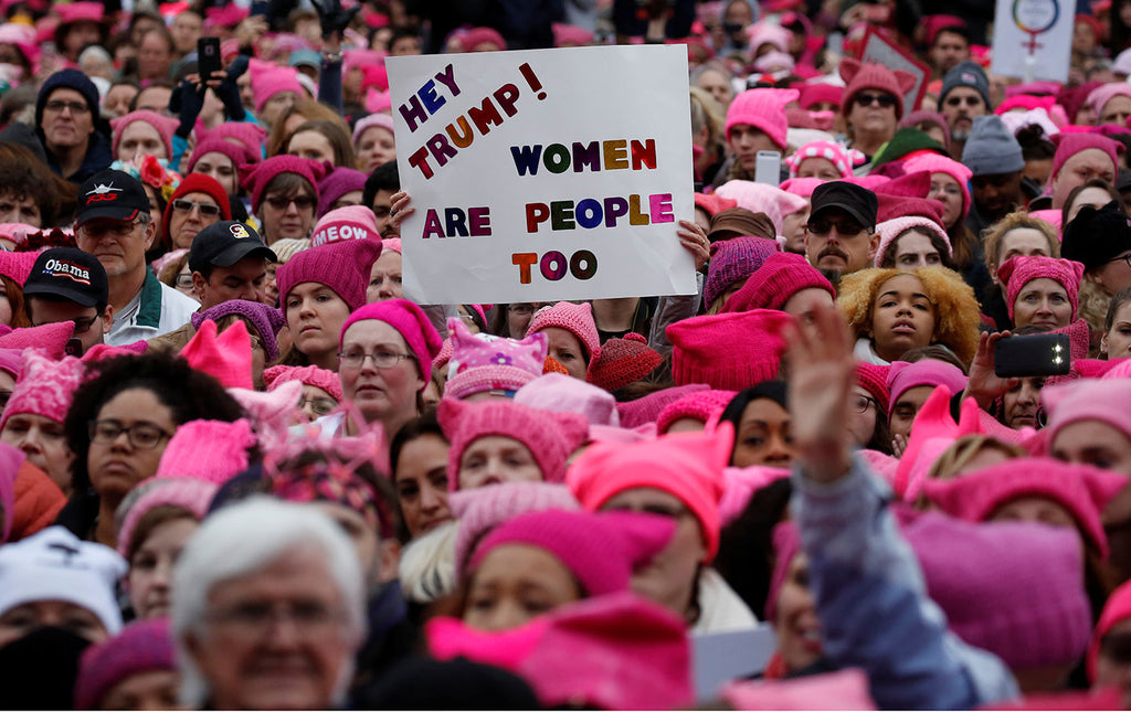 Women protesters with Pussy Hat on at the Women's March 2017