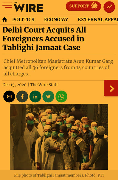article about Tablighi Jamaat case