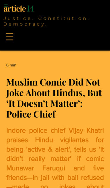 article about Muslim comedian arrested for no reasons