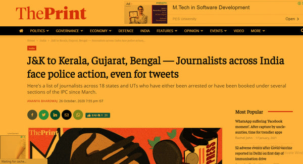 article about the journalists getting arrested in India