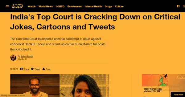 article about Indian courts accusing cartoonist and comedian